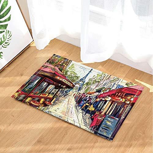 FEIYANG Spritzen von Paris Decor Watercolours Farbe des Eiffelturms auf der Straße Badteppiche Rutschfeste Fußmatte Bodeneingänge Indoor Haustürmatte Kinder Badematte 60X40CM Badzubehör