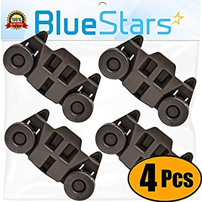 Ultra Durable W10195416 Lower Dishwasher Wheel Replacement by Blue Stars - Exact Fit for Whirlpool & Kenmore Dish Rack - PACK OF 4
