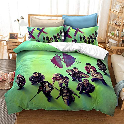 Snoevpar 3 Pieces Duvet Cover Set Movie Characters 230 * 220Cm Printed Bedding Quilt Duvet Cover With Zipper Closure For Girls, Ultra Soft Polyester Fiber Bedding (Double,Individual )