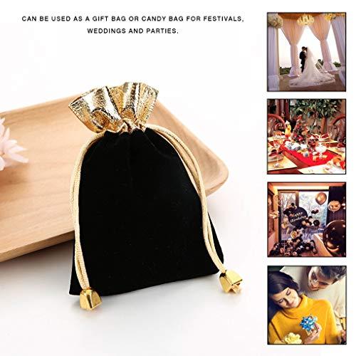 Guangcailun Pouch Velvet Drawstring Bag Portable Jewelry drawstring bag wedding Pouch Wedding Party Gift Bag Black Storage Pocket