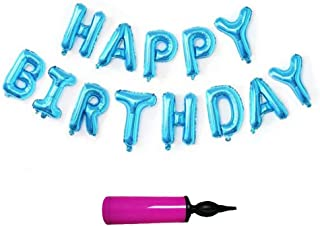 Happy Birthday Letter Balloons, Party Supplies Decorations Easy Set Up for All Age Light Up Your Party, Free Air Pump. Blue