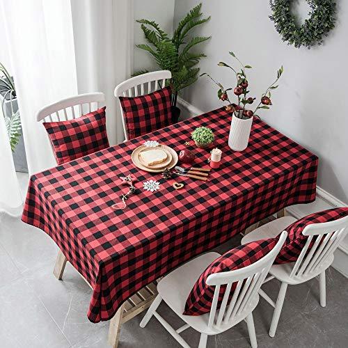 YZT QUEEN Yarn-dyed katoen en linnen plaid tafelkleed, moderne minimalistische kerst rood en zwart plaid rechthoekig tafelkleed, home decoratie diner picknick tafelkleed
