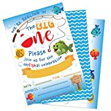 WERNNSAI Gone Fishing Invitation with Envelopes - Little Fisherman 1st Birthday Party Supplies for Kids Swim Pool Beach Summer The Big One Birthday Party Invitations 20 Sets