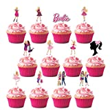 Toppers for Barbie Cupcake Toppers, Happy Birthday Cake Toppers, Party Supplies Favor Cake Decorations