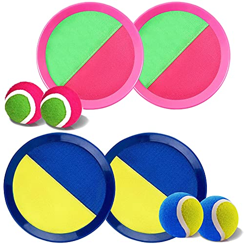 Ball Catch Set Game Toss Paddle - Beach Toys Back Yard Outdoor Games Lawn Backyard Target Throw Catch Sticky Mitt Set Age 3 4 5 6 7 8 9 10 11 12 Years Old Boys Girls Kids Easter Gifts Pink Blue 2 Pack