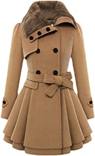 Howely Women Mid-Long Double Button Slim Fit Plus Size Thick Overcoat Outwear