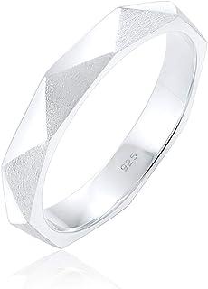 Elli 女式 925 纯银极简闪亮拉丝六角形戒指