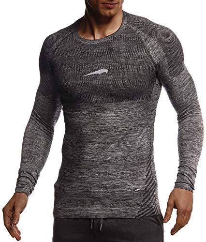 Leif Nelson Gym Herren Seamless Fitness Langarm-Shirt Funktionsshirt Slim Fit Männer Bodybuilder Trainingsshirt Sportshirt - Bekleidung für Bodybuilding Training LN8309 Schwarz-Reflekt Large