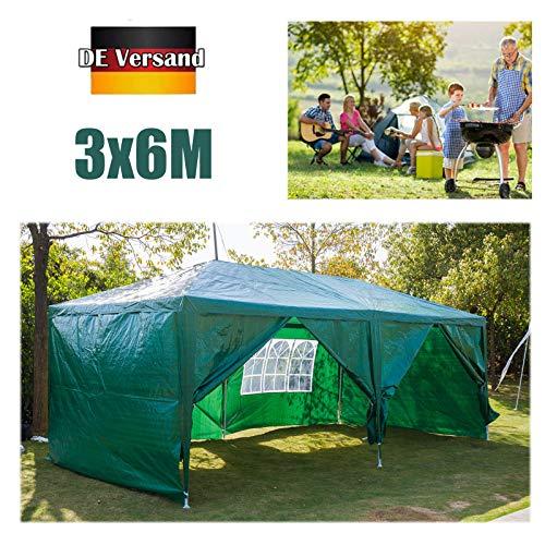Huini 3x6m Pavillon (mit 6 Seitenwände) für Gartenparty Hochzeit BBQ Event Wasserdicht UV-Schutz Zelt Festzelt Markise Einfache Installation Grün