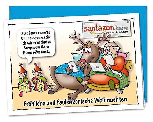 Faulenzerische XL Weihnachtskarte Modern Times - der Weihnachtsmann in Zeiten des eigenen Onlineshop - inkl. Umschlag (DIN A5)