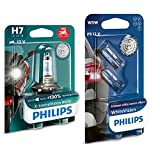 Philips Automotive Lighting 12972Xv+Bw X-Tremevision 130% H7 Lámpara Faro De Moto, 1 Unidad + 12961Nbvb2 Whitevision Efecto Xenón W5W Lámpara Automática, Doble Ampolla
