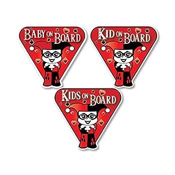 Little Harley Quinn Character BABY - KID - KIDS/ON BOARD - Awareness Warning Sign Printed Die-cut Vinyl Sticker for Cars/Trucks