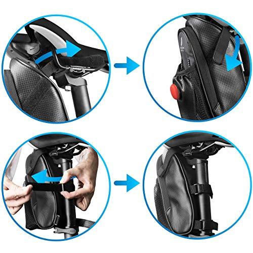 Satteltaschen für Fahrrad inkl. Reifen Reparaturset und Rücklicht- & Flaschenhalter - Geräumige Fahrradtasche mit Werkzeug für den Sattel aus wasserabweisendem Material - 5