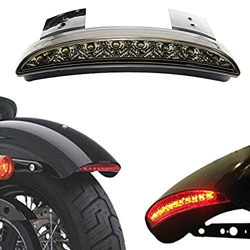 ANKIA Motorcycle Chopped Rear Fender Edge LED Brake License Plate Tail Light Stop Running Light Turn Signal Lamp for Harley Sportster XL883N 1200N XL1200V XL1200X (Smoked Black)