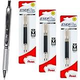 Pentel Energel 0.7 Alloy Rt Bl407 Black Gel Ink Pen with 3 Packs of Refills, Silver Barrel, 0.7mm Medium Point,6refills