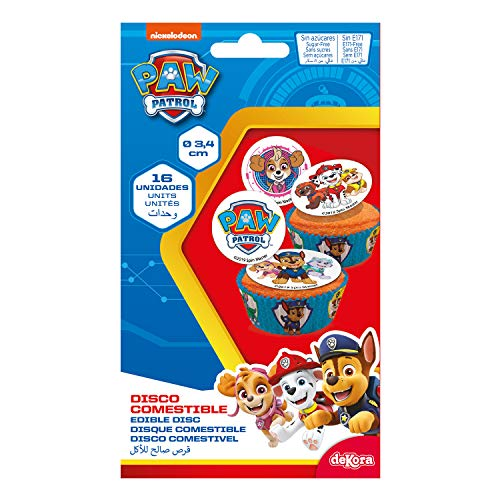 Dekora - 16 Mini Disco Comestible de la Patrulla Canina para Cupcakes, Muffins o Magdalenas de 3,4 cm de Diametro
