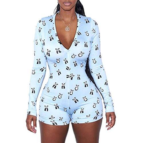 Geagodelia Monos de Verano para Mujer Pijama Ajustado de Manga Larga Mono con Cuello en V Bodycon Sexy Mameluco Informal Talla Grande con Estampado Floral para Yoga (Bleu, L)