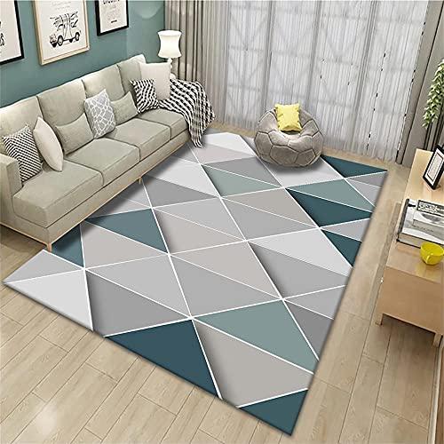 Alfombra Silla Gaming Dormitorio Infantil Alfombra de salón con diseño geométrico Azul...