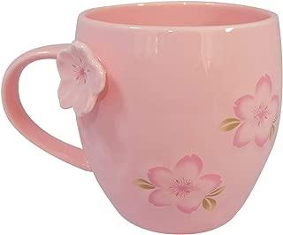 Ceramic Coffee & Tea Mug, Handmade cherry blossom Pattern,Cup for Women, Girls, Wife, Mom, Grandma, 13 Ounce (Pink)