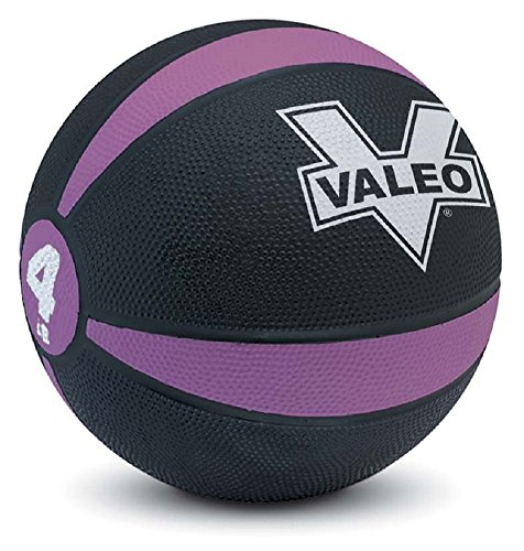 Valeo 4 lb Medicine Ball With Sturdy Rubber Construction And Textured Finish, Weight Ball Includes Exercise Wall Chart For Strength Training, Plyometric Training, Balance Training And Muscle Build