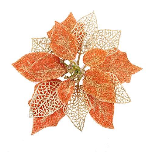 Louiesya Pack of 12 Pcs Glitter Poinsettia Christmas Tree Ornaments,Christmas Decorations Flower (Orange)