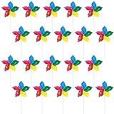FANDE 20 Piezas Molinillo de Viento, Molinillos de Viento para Jardín y Niños, con Diseño de Arcoíris, Decoración de Jardín, Artículo de Fiesta y Ahuyentador de Pájaros