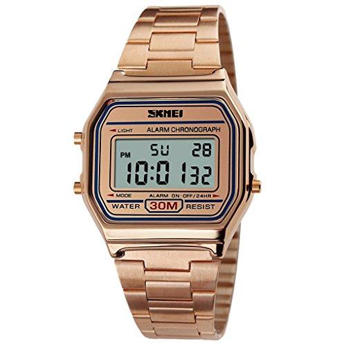 SKMEI - Reloj LED de Cuarzo Analógico Resistente al Agua Relojes Impermeable Múltiples Funciones Alarma Cronómetro para Hombres Forma Clásica - Oro Rosa