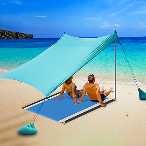 Sparklekle Pop Up Beach Tent Sun Shelter with Beach Mat UPF50+ 2-4 Person Outdoor Canopy Sunshade for Camping Fishing Backyard or Picnics (7X7 ft, Green)