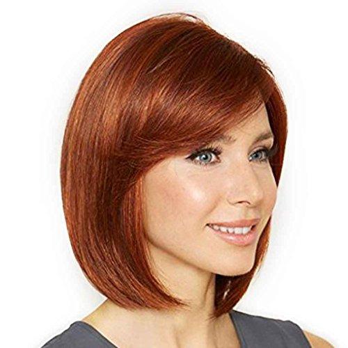 Xuanhemen Mode Femmes Perruques synthétiques pour femmes Frisette incliné Perruques à cheveux courts Vin Rouge