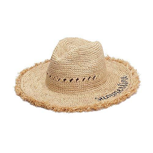 Duyani Hipster Sombrero for el Sol Sombrero de Visera Lafite Sombrero de Playa Gancho de Mano Letras Bordado Hombres y Mujeres Salvajes (Color : Light Khaki, Size : 56-58cm)