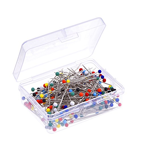 250 Pieces Sewing Pins Ball Glass Head Pins Straight Quilting Pins Boxed for Dressmaker (Multicolor)