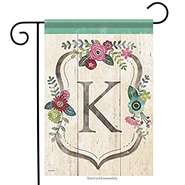 Carson Garden Flag - Classic Floral Monogram K
