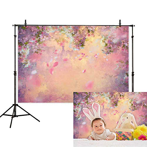 Allenjoy 7x5ft Pink Flower Baby Shower Backdrop Spring Sakura Rose Floral Bokeh Petal Watercolor Photography Background Girl Birthday Party Decoration Cake Table Banner Photo Booth Studio Props