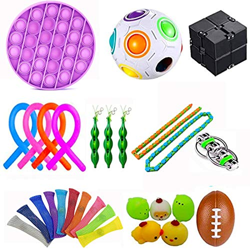 YEKKU Fidget Sensory Toys for Autism, ADHD 29pcs/set Stress Relief Toys Acupressure Massage Rings, Soybean Squeeze, Stretch Strings Relieve Stress Decompression Vent Toy