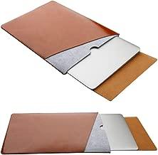"RUISIKIOU Leather Felt Sleeve Case for MacBook Air Pro Waterproof Anti-Scratch Microfiber Laptop Bag Dual Pocket with Mouse Pad MacBook Pr0 15.4"" XP-RSKO-CEP002-BRN15"