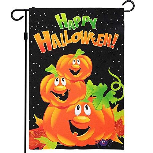G128 - Halloween Garden Flag, Happy Halloween Quote with Pumpkins Garden Yard Decorations, Rustic Holiday Seasonal Outdoor Flag 12' x 18'