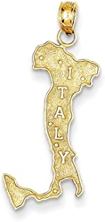 Black Bow Jewelry 14k Yellow Gold Textured Italy Map Pendant