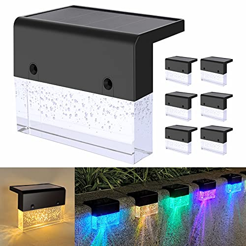 DAKAFUL Solar Deck Lights Outdoor 6 Pack,LED Solar Lights Waterproof for Fence,Stair,Railing,Warm White/Color Changing Solar Step Light for Patio Garden Yard