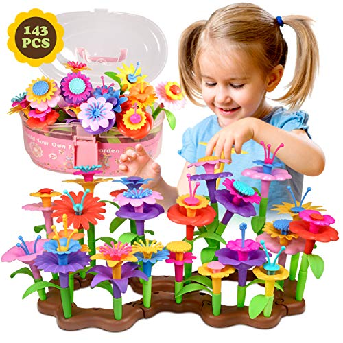 Fomass Toys for 3-6 Year Old Girls, Flower Garden Building Toy STEM Pretend Playset for Toddlers Kids Stacking Game Educational Gifts for Birthday Christmas (143 PCS)