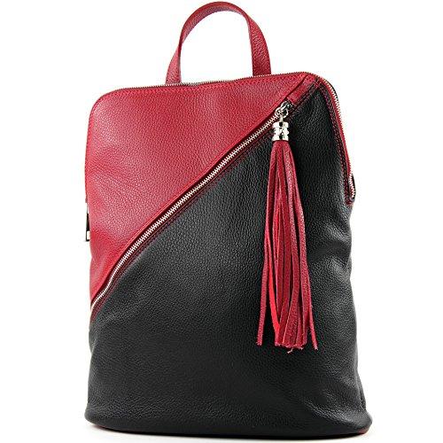 modamoda de - T161- ital Damen Rucksacktasche 3in1 aus Leder, Farbe:T161 Schwarz/Rot