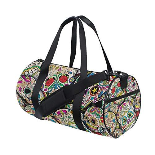 MALPLENA Borsone da palestra con molti fiori e teschi, borsa da viaggio da donna