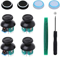 Onyehn 4pcs Analog 3D Joystick Thumbstick Wireless Controller Rocker Sensor Replacement fit for Sony Playstation 4 PS4 controllers,with Screwdriver Repair Kits Parts+4 Mushroom Caps+4 fluorescent butt