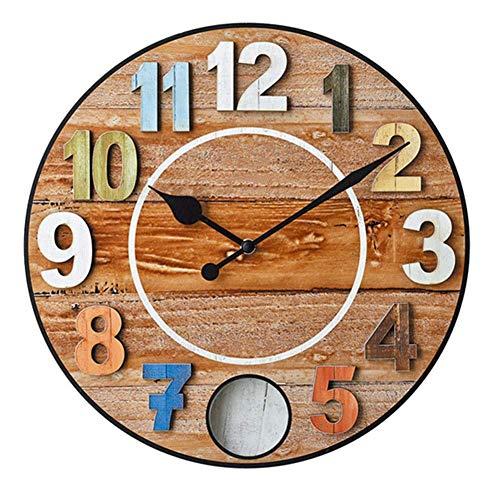 Home Life Wanduhr Batteriebetrieben Nicht Ticking American Retro Kreatives Design Wohnzimmer Schlafzimmer Holz Schaukel Pendel Farbe 3D Big Number Wanddekor Uhren Uhr