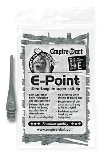 Empire Dart Softdartspitzen - E-Point - 2BA - lang - grau - 100 Stück