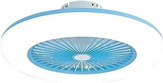 Ventilador De Techo SMG Con Luz Y Control Remoto, 3 Velocidades, 3 Tipos De Regulables, Lámpara De Techo Para Dormitorio Y Sala De Estar, Silenciosa, Moderna, Ahorro De Energía,Azul