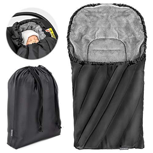 Zamboo Fußsack Deluxe für Babyschale (passend für Maxi-Cosi, Cybex, Kiddy) - Baby Winter-Fußsack aus weichem Thermo Fleece mit Gurtschlitzen, Kapuze und Tasche - Schwarz Grau