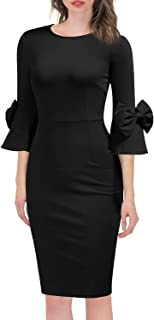 Women's 3/4 Bell Sleeve Pencil Shift Dress with Bow Detail
