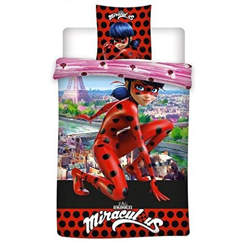 Funda de edredón Miraculous Ladybug París, negro/rojo, para niño, 140 x 200 cm, 1 persona, 100 % microfibra de alta calidad
