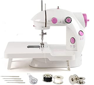 Mini Sewing Machine, Portable Adjustable 2-Speed Double Thread Sewing Machine with Needle Protector, Extension Table - Perfect for Child, Beginner