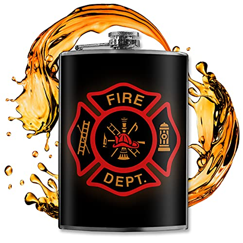 The Fire Department Flask -8 oz Flasks For Liquor For Men - Groomsmen Gifts - Firefighter Gifts For Men - Stainless Steel Flask For Liquor - Alcohol Flask For Men - Trixie And Milo